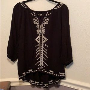 UO Ecoté Black and White Embroidered Peasant Top